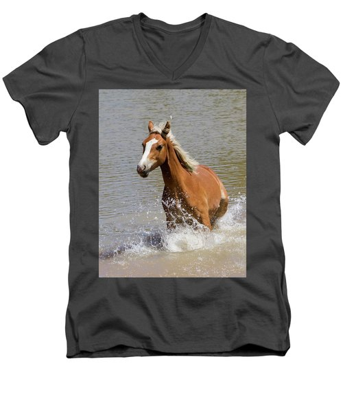 Wild Horse Splashing At The Water Hole Men's V-Neck T-Shirt