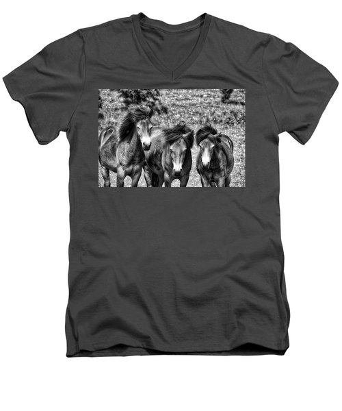 Wild Horses Bw1 Men's V-Neck T-Shirt