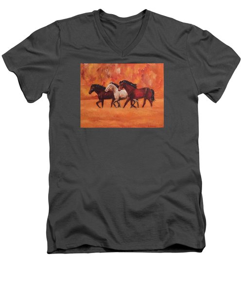 Men's V-Neck T-Shirt featuring the painting Wild Horses by Ellen Canfield
