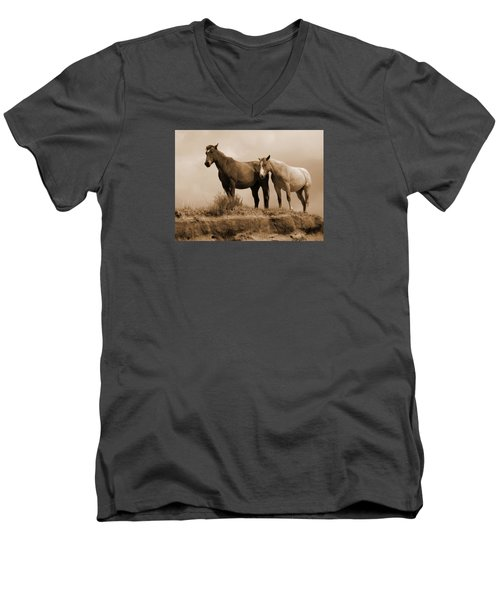 Wild Horses In Western Dakota Men's V-Neck T-Shirt