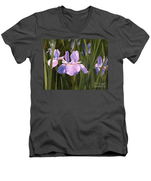 Men's V-Neck T-Shirt featuring the painting Wild Iris by Laurie Rohner