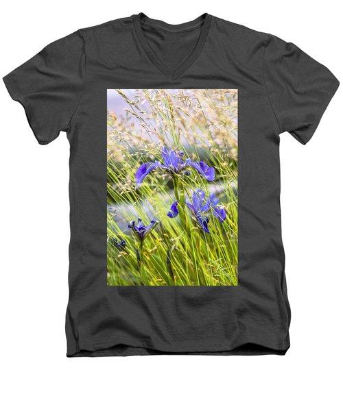 Wild Irises Men's V-Neck T-Shirt by Marty Saccone