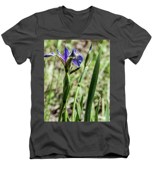 Men's V-Neck T-Shirt featuring the photograph Wild Maine Iris by Daniel Hebard
