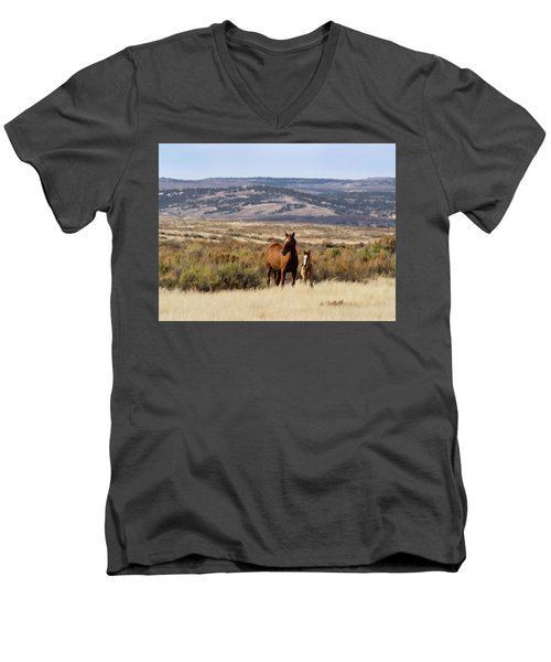 Wild Mare With Young Foal In Sand Wash Basin Men's V-Neck T-Shirt