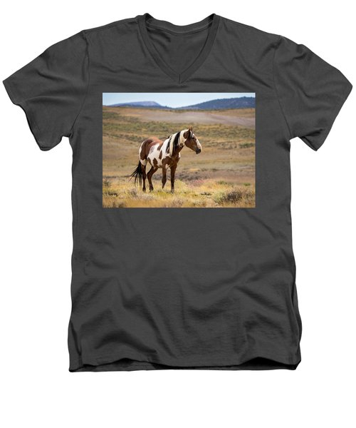 Wild Mustang Stallion Picasso Of Sand Wash Basin Men's V-Neck T-Shirt