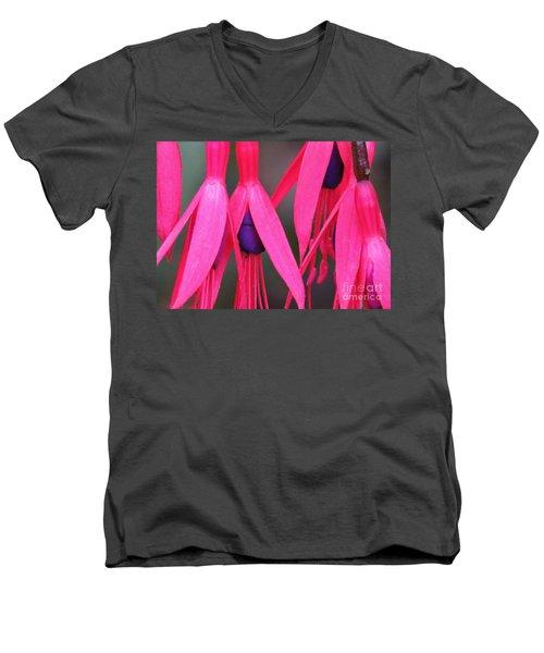 Wild Oregon Fuchsia  Men's V-Neck T-Shirt by Michele Penner