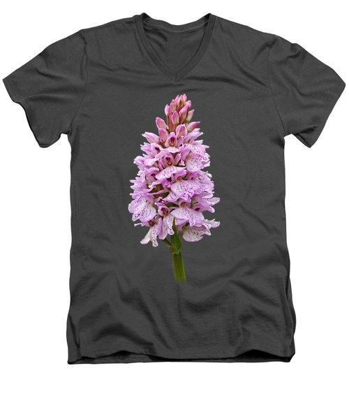 Wild Pink Spotted Orchid Men's V-Neck T-Shirt by Gill Billington