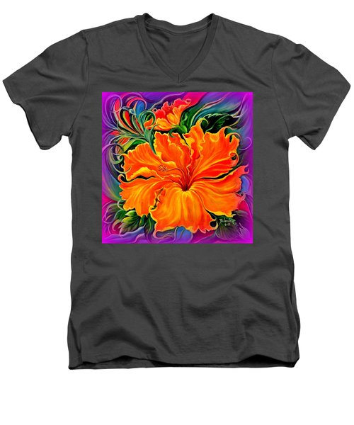 Wild Purple Hibiscus Men's V-Neck T-Shirt by Yolanda Rodriguez