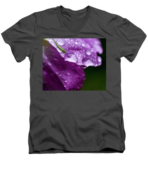 Men's V-Neck T-Shirt featuring the photograph Wild Rose Droplet by Darcy Michaelchuk