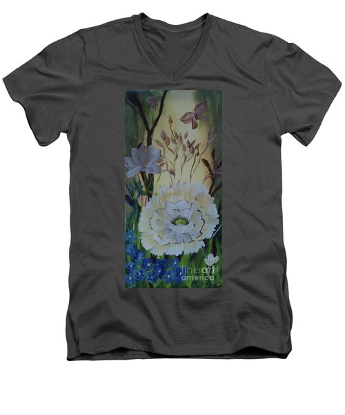 Wild Rose In The Forest Men's V-Neck T-Shirt by Donna Brown