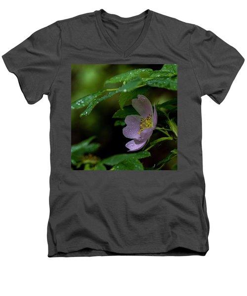 Men's V-Neck T-Shirt featuring the photograph Wild Rose With Shelter by Darcy Michaelchuk