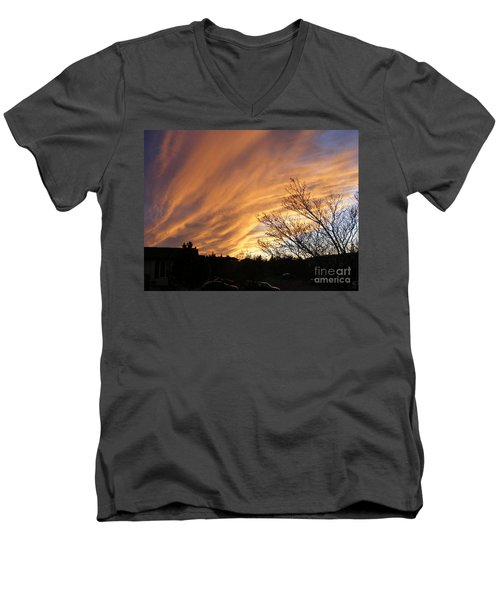 Men's V-Neck T-Shirt featuring the photograph Wild Sky Of Autumn by Barbara Griffin