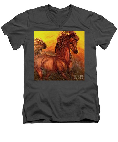 Wild Spirit Men's V-Neck T-Shirt by Kim Jones