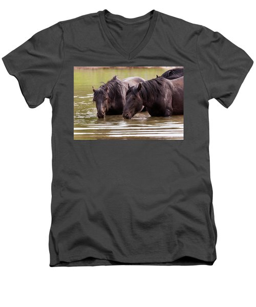 Wild Stallions At The Water Hole Men's V-Neck T-Shirt