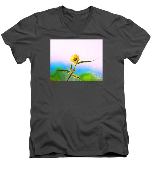 Men's V-Neck T-Shirt featuring the photograph Wild Sunflower by Lila Fisher-Wenzel