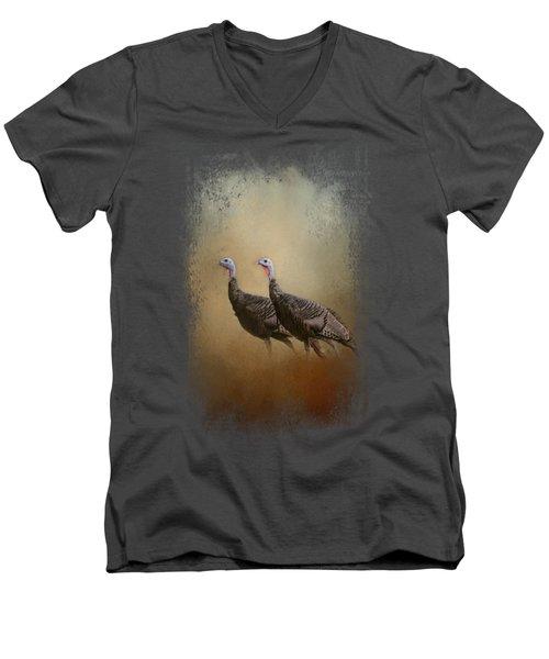 Wild Turkey At Shiloh Men's V-Neck T-Shirt