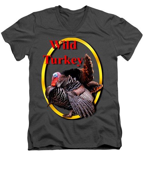 Wild Turkey Men's V-Neck T-Shirt by John Furlotte