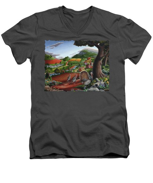 Wild Turkeys Appalachian Thanksgiving Landscape - Childhood Memories - Country Life - Americana Men's V-Neck T-Shirt by Walt Curlee