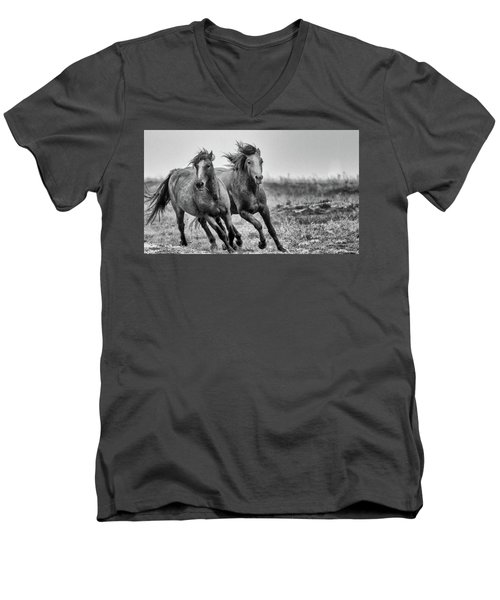 Wild West Wild Horses Men's V-Neck T-Shirt by Kelly Marquardt