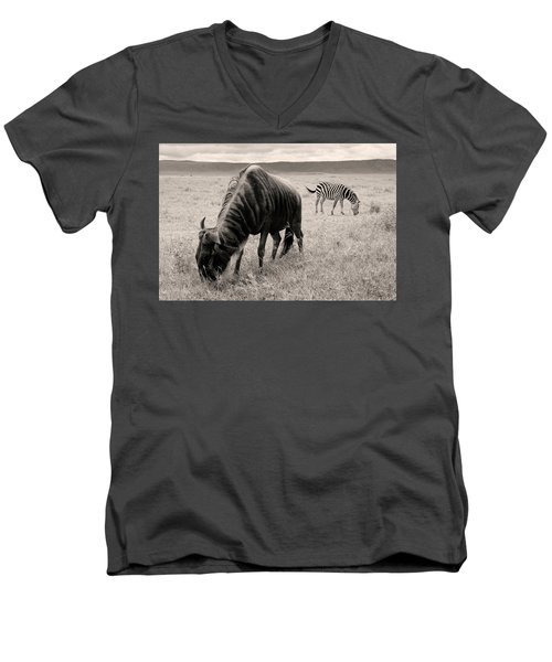 Wildebeest And Zebra Men's V-Neck T-Shirt
