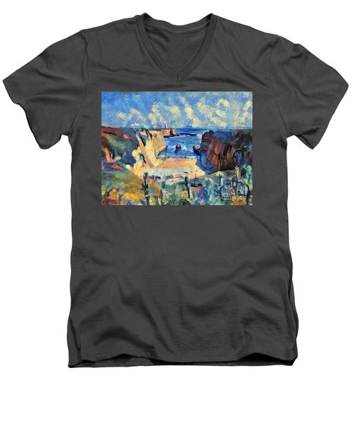Men's V-Neck T-Shirt featuring the painting Wilder Ranch Trail by Denise Deiloh