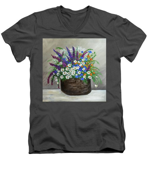 Wildflower Basket Acrylic Painting A61318 Men's V-Neck T-Shirt