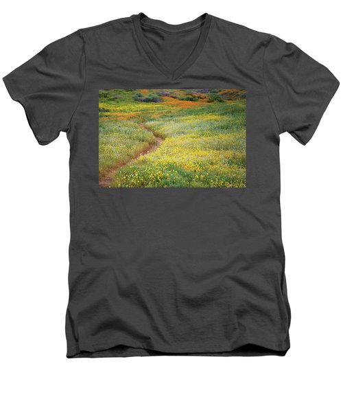 Men's V-Neck T-Shirt featuring the photograph Wildflower Field Near Diamond Lake In California by Jetson Nguyen