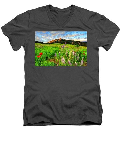 Wildflower Mix Men's V-Neck T-Shirt by Scott Mahon