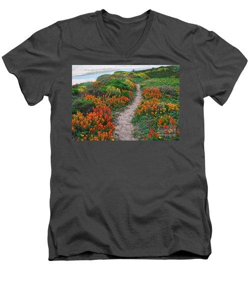 Wildflower Path At Ribera Beach Men's V-Neck T-Shirt