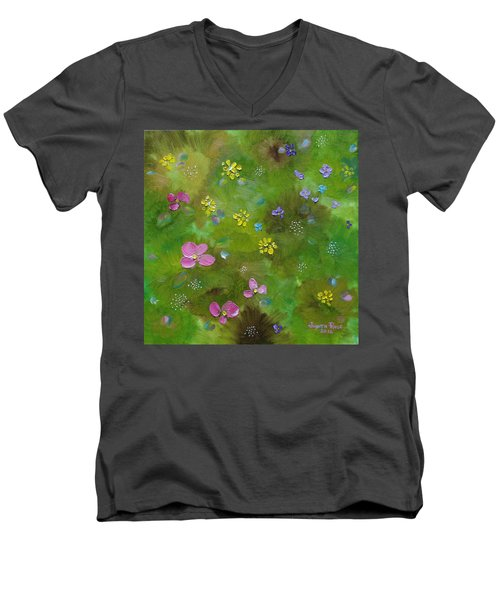 Men's V-Neck T-Shirt featuring the painting Wildflower Support by Judith Rhue