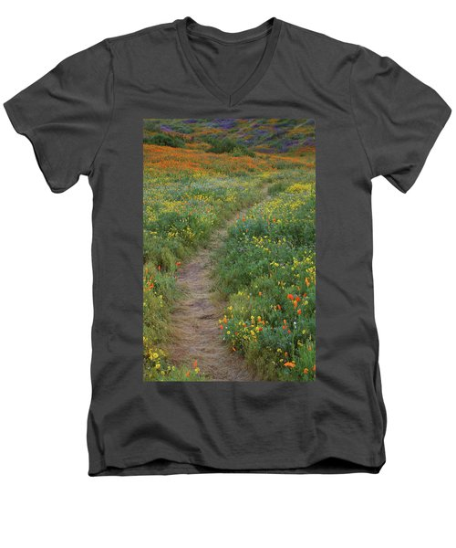 Men's V-Neck T-Shirt featuring the photograph Wildflower Trail At Diamond Lake In California by Jetson Nguyen