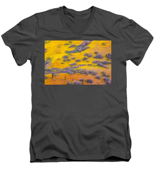 Wildflowers And Fence Men's V-Neck T-Shirt by Marc Crumpler