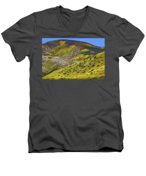 Wildflowers Galore At Carrizo Plain National Monument In California Men's V-Neck T-Shirt