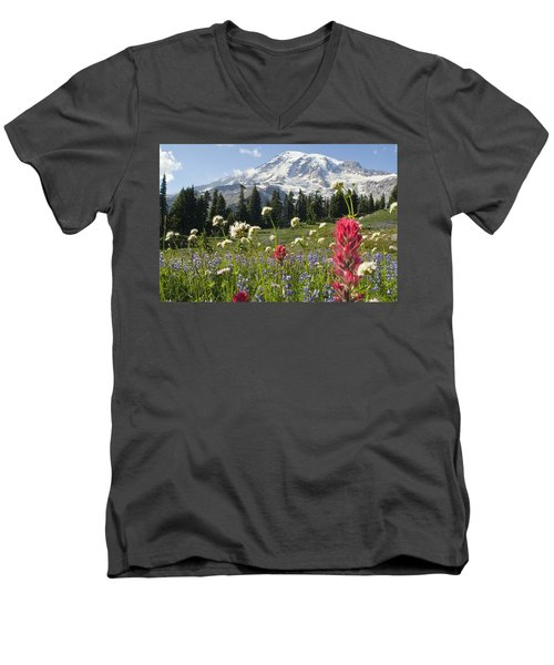 Wildflowers In Mount Rainier National Men's V-Neck T-Shirt