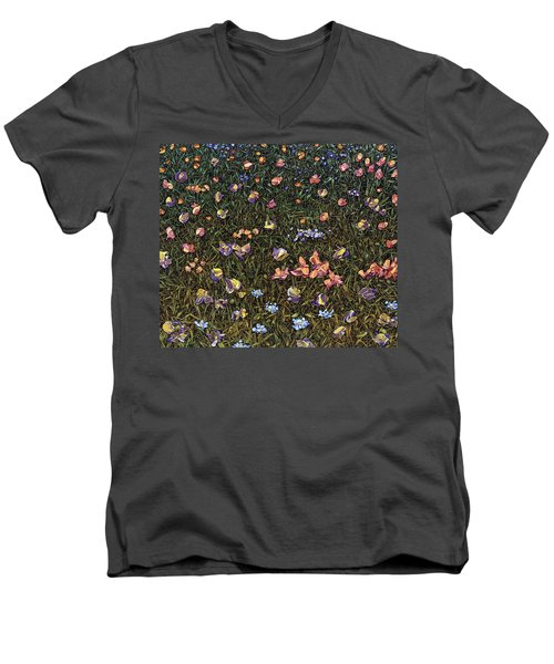 Men's V-Neck T-Shirt featuring the painting Wildflowers by James W Johnson