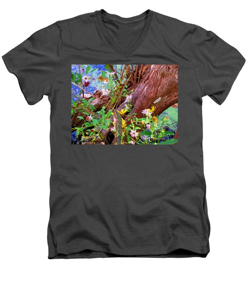 Wildflowers On A Cypress Knee Men's V-Neck T-Shirt