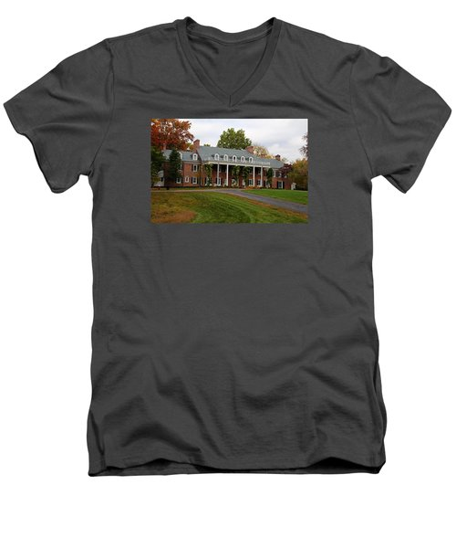 Wildwood Manor House In The Fall Men's V-Neck T-Shirt by Michiale Schneider