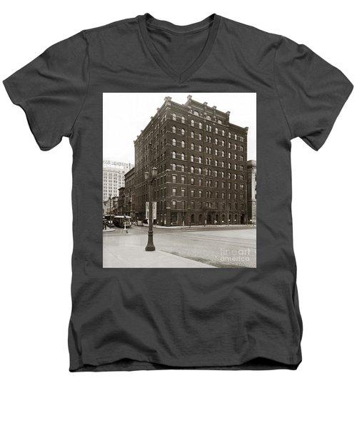 Wilkes Barre Pa Hollenback Coal Exchange Building Corner Of Market And River Sts April 1937 Men's V-Neck T-Shirt