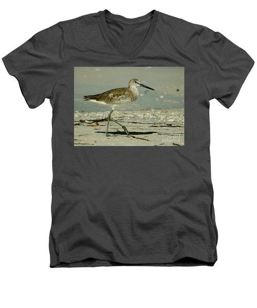 Willet At The Shoreline Men's V-Neck T-Shirt by Myrna Bradshaw