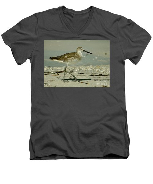 Willet At The Shoreline Men's V-Neck T-Shirt