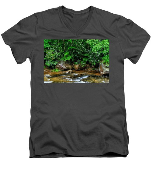 Williams River And Rhododdendron Men's V-Neck T-Shirt
