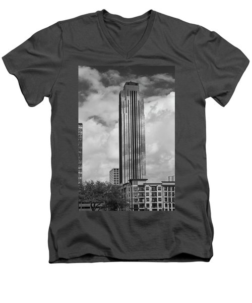 Williams Tower In Black And White Men's V-Neck T-Shirt