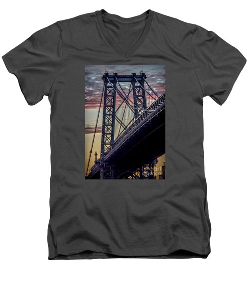 Williamsburg Bridge Structure Men's V-Neck T-Shirt by James Aiken