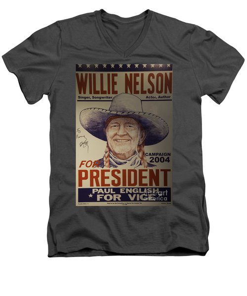 Willie For President Men's V-Neck T-Shirt