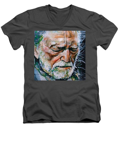 Willie Nelson 7 Men's V-Neck T-Shirt by Laur Iduc