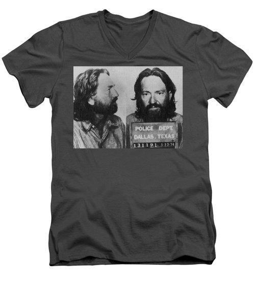 Willie Nelson Mug Shot Horizontal Black And White Men's V-Neck T-Shirt