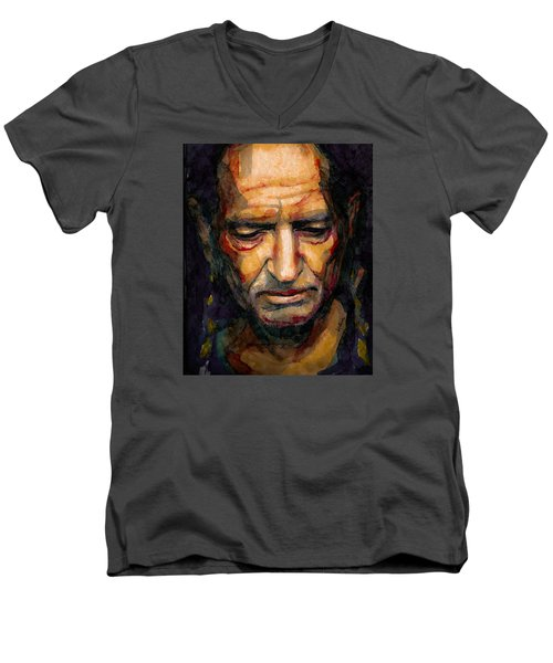 Willie Nelson Portrait 2 Men's V-Neck T-Shirt