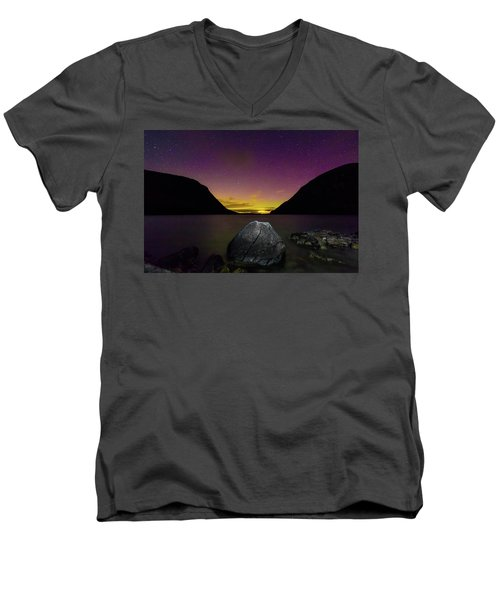 Willoughby Aurora And Boulder Men's V-Neck T-Shirt by Tim Kirchoff