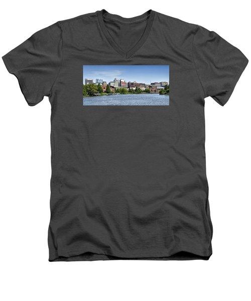 Wilmington Delaware Skyline Men's V-Neck T-Shirt by Brendan Reals