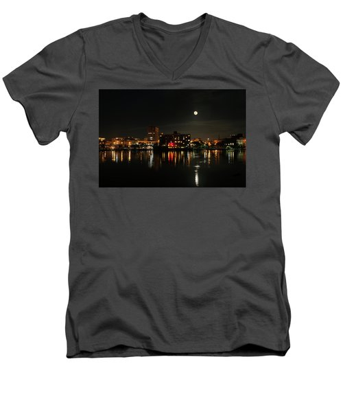 Wilmington Nc At Night Men's V-Neck T-Shirt by Denis Lemay